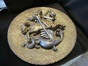Vtg Universal Statuary Wall St George Slaying A Dragon Sculpture 1960andrsquos 3d 23andfrac12andrdquow
