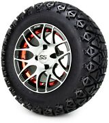 Gtw 12 Pursuit Machined Red Golf Cart Wheels And Tires 23x10.50-12 Set Of 4