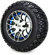 Gtw 12 Pursuit Machined Blue Golf Cart Wheels And Tires 23x10.50-12 Set Of 4