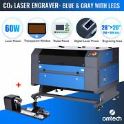 Omtech 60w 28x20inch Co2 Laser Engraving Engraver Cutter With Rotary Axis 3 Jaw