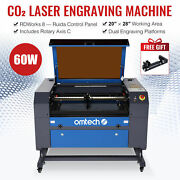 Omtech 60w 28x20 Inch Co2 Laser Engraver Cutter With Rotary Axis 0.4-6 Dia