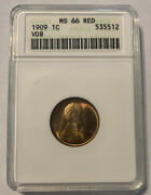 1909 1c Vdb Lincoln Wheat Penny Anacs Certified Ms 66 Red Rd