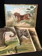 1800s Antique German New Dissected Animal Puzzle - 3 Wood Block Puzzles Complete