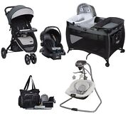 Baby Stroller And Car Seat Infant Combo Bassinet And Changer Playard Swing Bag Set
