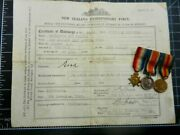 Ww1 Nz Discharge Certificate And Miniature Medal Group And039cooksonand039 Z1