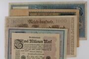 1908-1923 Germany 5-notes Currency Set // German Empire And Weimar Republic