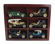 Vintage Lot Of 6 Antique Cars High Speed With 2 Wooden Display Cases