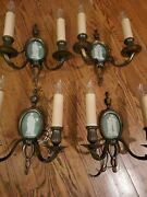 Antique Set Of 4 Louis Xvi By Caldwell Green Jasper Wedgwood Wall Sconces