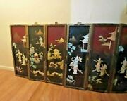 Asian Mother Of Pearl Lacquer Wall Art 6 Panels Wood Plaque Collectible Culture