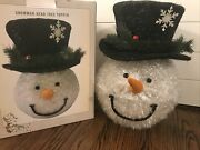 Snowman Christmas Tree Topper Top Hat Large 16andrdquo Holiday Cracker Barrel W/ Box