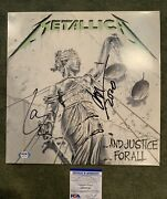 Jason Newsted Lars Ulrich Signed Vinyl Recors Lp And Justice For All Psa/dna Cos