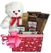 Hearts Gift Baskets W Bear Coffee And Chocolate - Any Occasion Coffee Lovers Gift