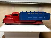 Vintage 1930and039s-40and039s Marx - Wyandotte Red And Blue Pressed Steel Stake Bed Truck