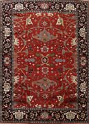 Red Geometric Traditional Oriental Hand-knotted Palace Size Wool Area Rug 12x15