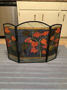 """Style Stained Cut Glass Handcrafted Fireplace Screen 24"""" Tall X 32"""" Wide"""