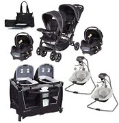 Baby Double Stroller With 2 Car Seats Combo Twins Nursery Center 2 Swings Bag