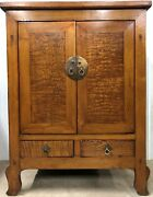 A Pine Wood Chinese Cabinet Of Burl Panel With 2 Drawers And Brass Ring Pulls