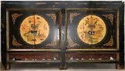 Chinese Qing Style Black Lacquer Painted Pine Double Doors Cabinet Vase Floral