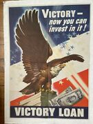 Original 1945 Wwii Poster- Victory You Can Invest In It Victory Loan With Eagle