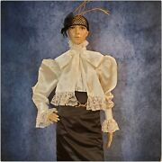 Victorian Satin And Lace Puff Blouse