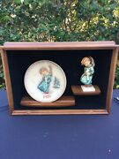 Hummel 21/0/1/2 Heavenly Angel And 1971 Plate In Shadow Box- Excellent Tmk3