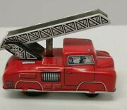Vintage Friction Tin Toy Litho Fire Truck, Made In Western Germany