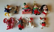 Vintage Christmas Ornaments Disney And Other Characters Lot Of 9