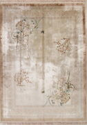 100 Silk Art Deco Chinese Semi Antique Hand-made Floral Oriental Area Rug 9x12