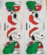 Christmas Santa Snoopy Fabric Panel For Stuffie Pillow Uncut Vintage Peanuts