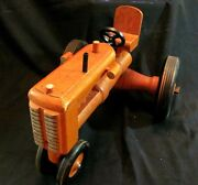 Rare Primitive Antique Wooden Handmade Tractor Toy In Case Orange 80 Years Old