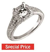 Diamond Semi Mount Engagement Ring Solid 14k White Gold 0.49ct Fine Jewelry