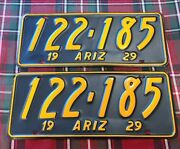 Restored 1929 Arizona License Plates / Match Set. Perfect For Your Classic