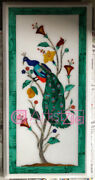 Marble Top Dining Table Cum Wall Panel Peacock Theme Pietra Dura Monopoly Design
