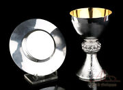Vintage Solid-silver Chalice And Paten Set. Last Supper. Spain, 20th Century
