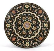 Dining Table Top With Stand Black Marble Handmade Pietra Dura Victorian Decor