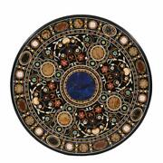 Dining Table Top With Stand Black Marble Handmade Pietra Dura Victorian Table