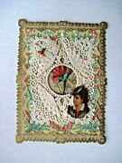 Victorian Valentine Card W/ Paper Lace And Lovely Die Cut Scraps