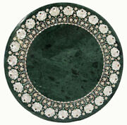 Dining Table Top With Stand Green Marble Handmade Pietra Dura Victoria Furniture