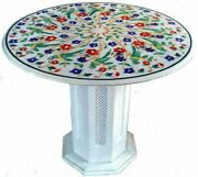 Dining Table Top With Stand White Marble Handmade Pietra Dura Victoria Furniture