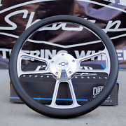 14 Billet Steering Wheel + Adapter For Chevy 69-94 - Black Wrap And Horn Button