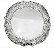 925 Sterling Silver Handmade Swirl Chased Design And Ornate Appliques Round Tray