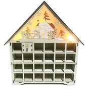 10xwooden Advent Calendar Countdown Lights Christmas 24 Pull-out Ders Led