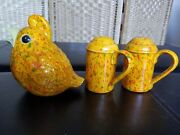 Vintage Mid Century Modern Salt And Pepper Shakers W/ Matching Sugar Pourer