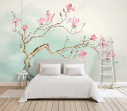 3d Magnolia Branch Self-adhesive Removeable Wallpaper Wall Mural Sticker 300
