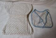 Vintage Handmade Cloth Flannel Baby 4 Diapers 2 Bibs Tiny Pink Roses Free Ship