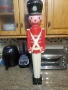 Vintage 32andrdquo Lighted Christmas Nut Cracker Toy Soldier Blow Mold 1950and039s Hard