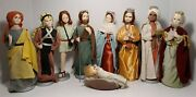 10 Piece Vintage Fabric And Wood Nativity Figures Embellished, 10, Made In Japan