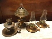 Lot Of 4 Vintage Copper Color Metal Oil Lamps And Candle Holders