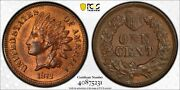1872 Indian Penny 1c Pcgs Red Brown Rb Unc Ms64 - Shallow N Fs-901 Gold Shield