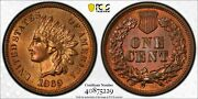 1869 Indian Head Penny 1c Pcgs Red Brown Rb Ms65 Gem Unc Gold Shield Secure